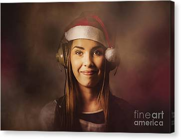 Canvas Print featuring the photograph Christmas Disco Dj Woman by Jorgo Photography - Wall Art Gallery