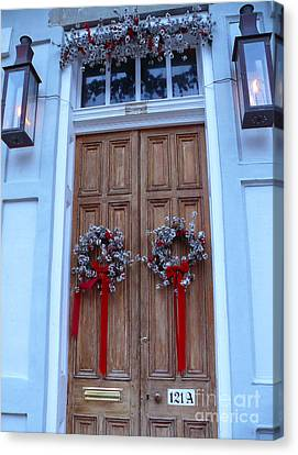 Christmas Door Canvas Print by Jeanne  Woods