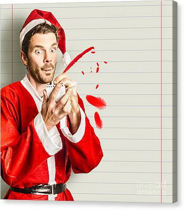 Santa Claus Canvas Print - Christmas Elf Letter Writing A Holiday Message by Jorgo Photography - Wall Art Gallery