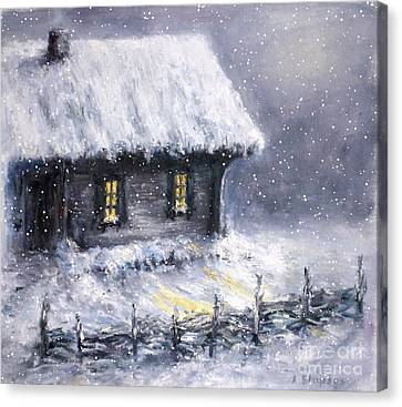 Canvas Print featuring the painting Christmas Eve by Arturas Slapsys
