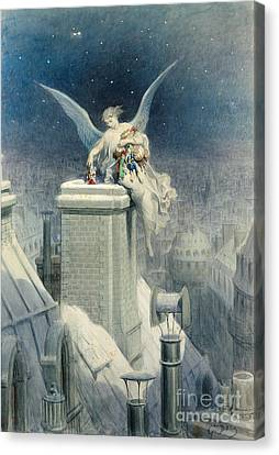 Snowy Night Night Canvas Print - Christmas Eve by Gustave Dore