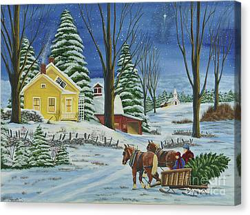 Christmas Eve In The Country Canvas Print by Charlotte Blanchard