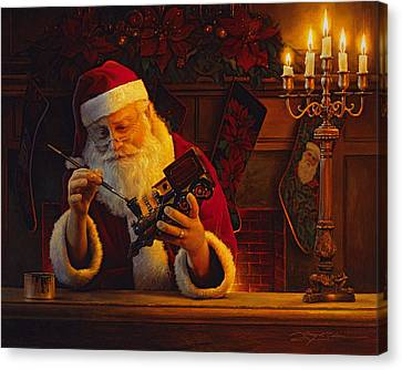 Saint Canvas Print - Christmas Eve Touch Up by Greg Olsen
