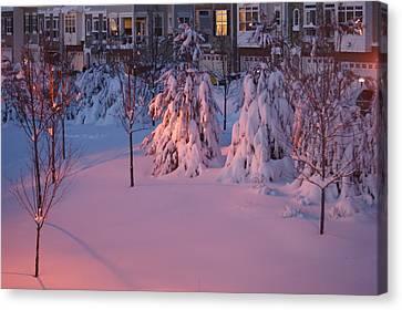Christmas Evening Snow Canvas Print