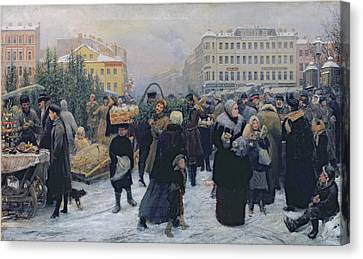 Produce Canvas Print - Christmas Fair  by Heinrich Matvejevich Maniser