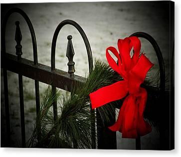 Christmas Fence Canvas Print
