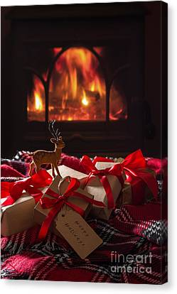 Christmas Gifts By The Fire Canvas Print