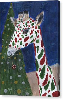 Canvas Print featuring the painting Christmas Giraffe by Jamie Frier