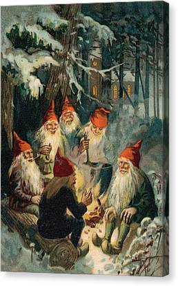 Elves Canvas Print - Christmas Gnomes by English School