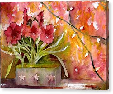 Christmas Holiday Amaryllis Canvas Print by Kelly Perez