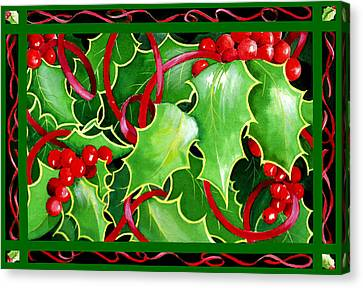 Christmas Holly And Berries Canvas Print by Janis Grau