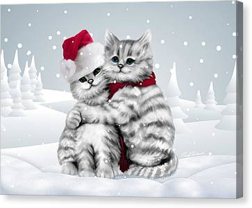 Canvas Print featuring the drawing Christmas Hug by Cindy Anderson