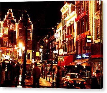 Christmas In Amsterdam Canvas Print by Nancy Mueller