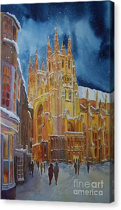 Christmas In Canterbury Canvas Print by Beatrice Cloake