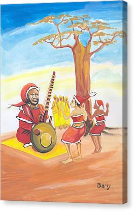 Canvas Print featuring the painting Christmas In Senegal by Emmanuel Baliyanga