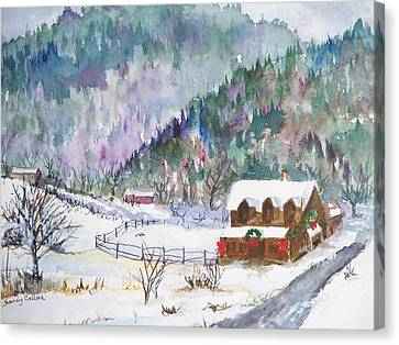 Canvas Print featuring the painting Christmas In The Mountains by Sandy Collier