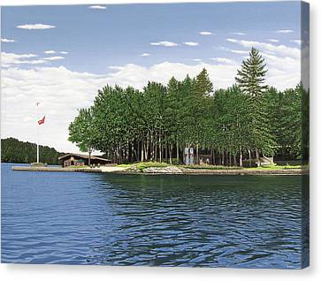 Canvas Print featuring the painting Christmas Island Muskoka by Kenneth M Kirsch