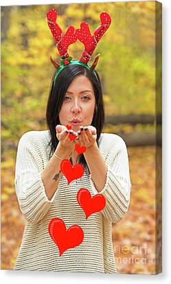 Canvas Print featuring the photograph Christmas Kisses.. by Nina Stavlund