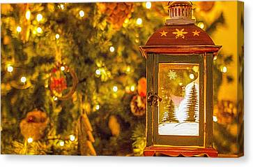 Christmas Lantern Canvas Print by Angela Aird