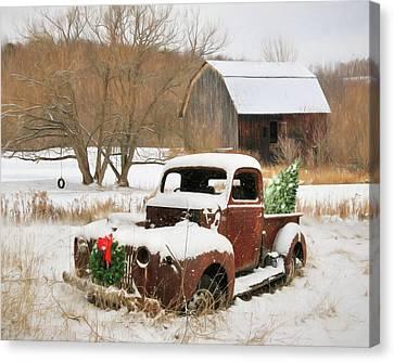 Christmas Lawn Ornament Canvas Print by Lori Deiter