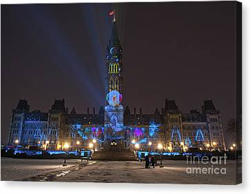 Christmas Lights Across Canada.. Canvas Print by Nina Stavlund