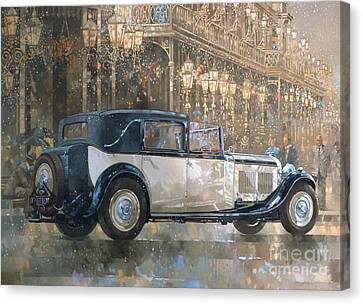 Christmas Lights And 8 Litre Bentley Canvas Print