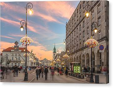 Christmas Lights In Warsaw Canvas Print by Julis Simo