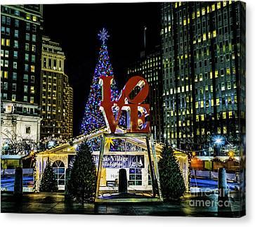 Christmas - Love Park 2015 Canvas Print by Nick Zelinsky