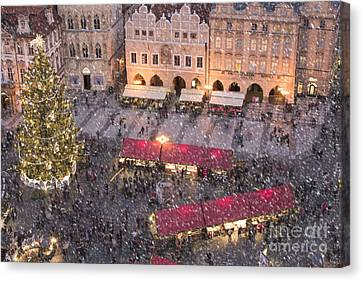 Christmas Market In Prague Canvas Print by Juli Scalzi