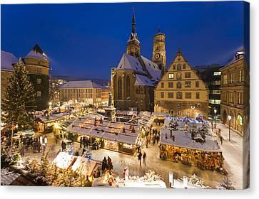 Christmas Market In Stuttgart Canvas Print