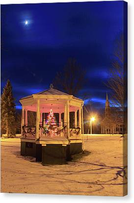 Christmas Moon Over Town Common Canvas Print by John Burk