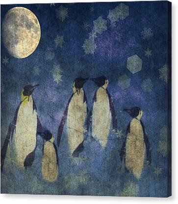 Penguins Canvas Print - Christmas Moon  by Paul Lovering