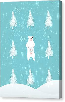 Christmas Morning Bear Canvas Print
