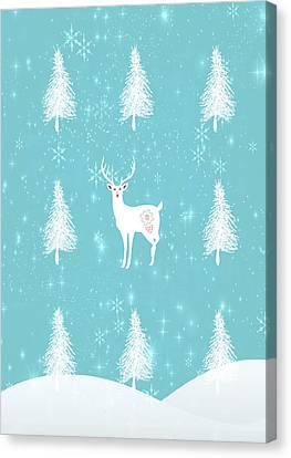 Christmas Morning Stag Canvas Print