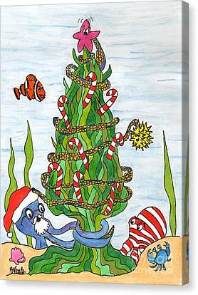 Christmas Of The Sea Tree Canvas Print by Bev Veals