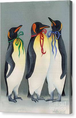 Christmas Penguinsii Canvas Print by Anne Havard