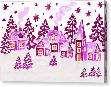 Christmas Picture In Pink Colours Canvas Print