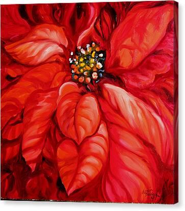 Christmas Poinsettia Canvas Print by Marcia Baldwin