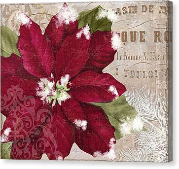 Christmas Flower Canvas Print - Christmas Poinsettia by Mindy Sommers