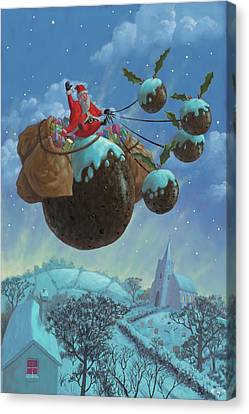 Christmas Pudding Santa Ride Canvas Print by Martin Davey