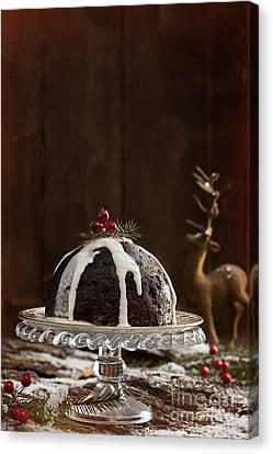 Christmas Pudding With Cream Canvas Print by Amanda Elwell