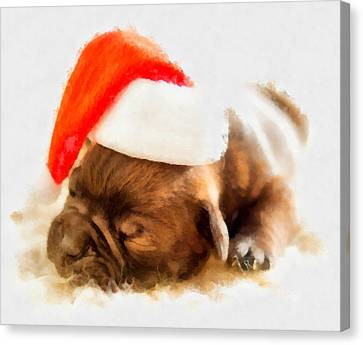 Christmas Puppy Canvas Print by Esoterica Art Agency