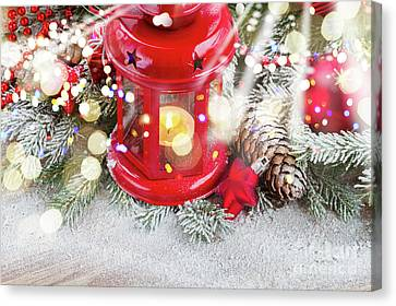 Christmas Red Lantern  Canvas Print by Anastasy Yarmolovich