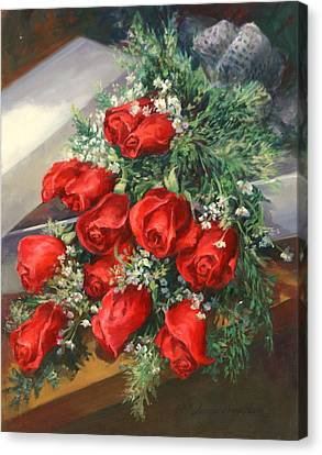 Christmas Red Roses Canvas Print by Laurie Hein
