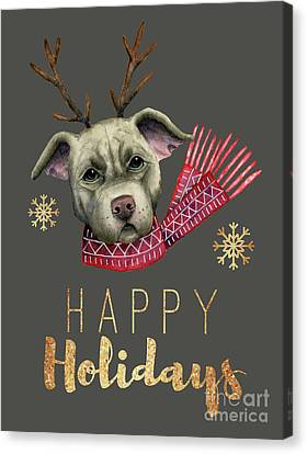 Christmas Reindeer Pit Bull With Faux Gold Fonts Canvas Print