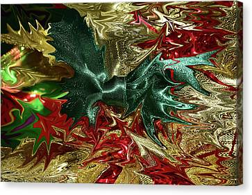 Red Green And Gold Abstracts Canvas Print - Christmas Ribbons And Bows Photopainting 1 by Linda Brody