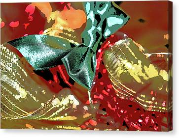 Red Green And Gold Abstracts Canvas Print - Christmas Ribbons And Bows Photopainting 2 by Linda Brody