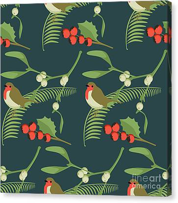 Repeat Canvas Print - Christmas Robin by Claire Huntley