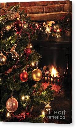 Christmas Round The Fire Canvas Print by Andy Smy