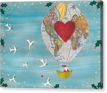 Christmas Santa Claus In A Hot Air Balloon For Peace Canvas Print by Sukilopi Art